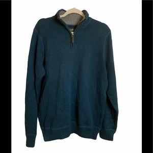 Eddie Bauer 1/4 Zip 100% Cotton Sweater Blue Med